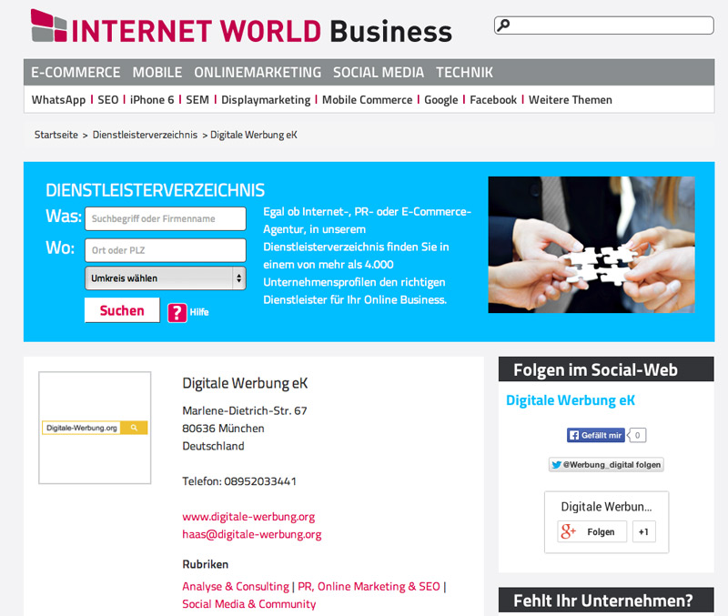 Dienstleisterverzeichnis Internet World